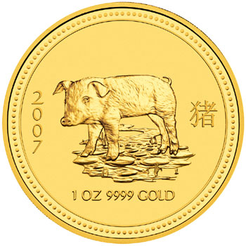 2007 year of the pig gold coin
